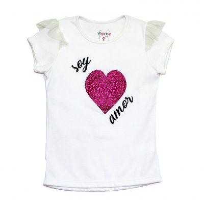 Camiseta Estampado de Corazón