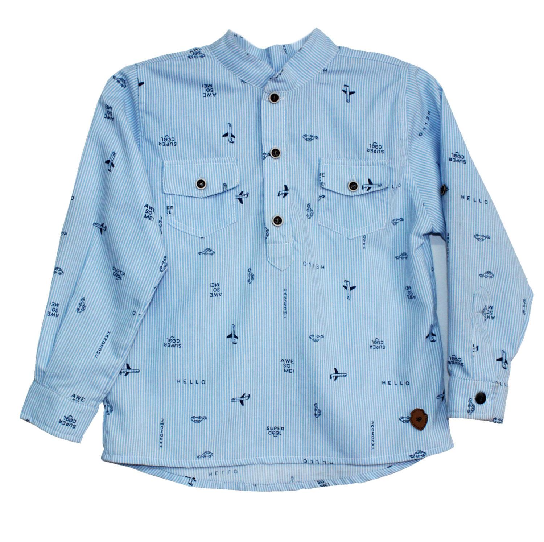 Camisa Niño Cuello Neru Azul